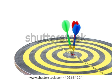 selective focus dart hitting in target center of dartboard ,competitive business concept,organization that has potential to be lead the business - stock photo