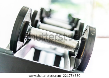 Selective focus Dumbbell equipment fitness