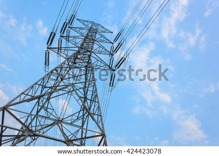 selective focus high voltage tower and beautiful blue sky.