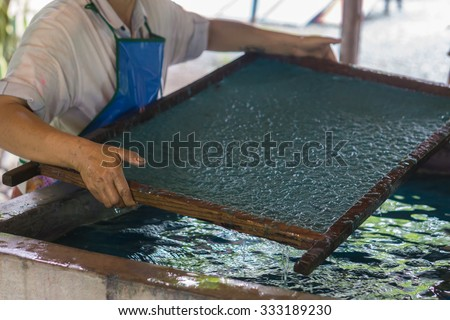 selective focus,How to make the process of mulberry paper / fabric from horse poo and elephant poo. Arts and crafts.Making paper sheets from mulberry pulp, near Chiang Mai ,Thailand. - stock photo