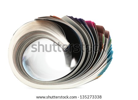 Selective focus image of magazine in profile - stock photo