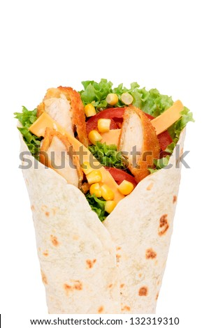 Selective focus in the middle of chicken wrap - stock photo