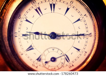 Selective focus in the middle of old pocket watch