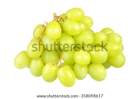 selective focus of bunch green grapes isolated on white.