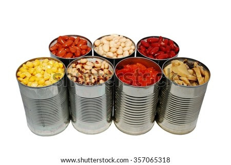 Selective focus of canned corn, beans, tomatoes and mushrooms on a white background, basic ingredients for chili - stock photo