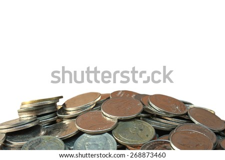 selective focus of coins over euro banknote background.,money concept