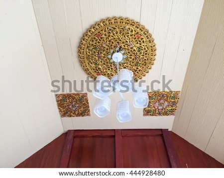 selective focus of Crystal Chandelier , Chandelier ceiling lights - stock photo