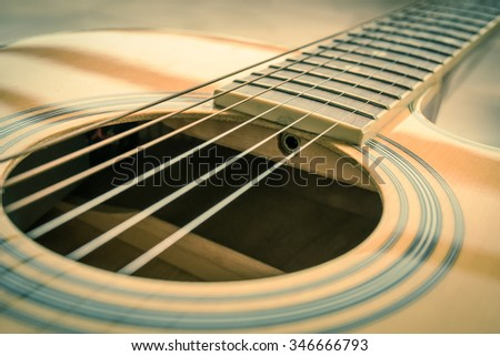 selective focus of guitar background