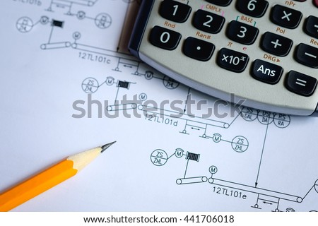 selective focus on answer button on calculator, design and calculate concept, Calculator and  pencil on process instrument diagram shop drawing, process engineering design in plant - stock photo