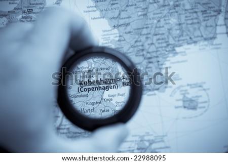 Selective focus on antique map of Copenhagen - stock photo