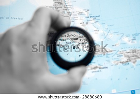 Selective focus on antique map of Cuba