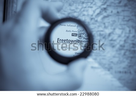 Selective focus on antique map of freetown