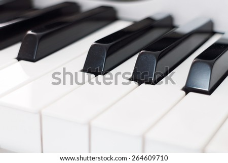 selective focus on electric piano keys  - stock photo