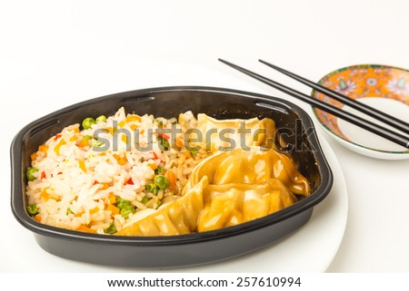 Selective focus on Pot Stickers TV Dinner.  Chicken and vegetable dumplings with rice and dipping sauce. - stock photo