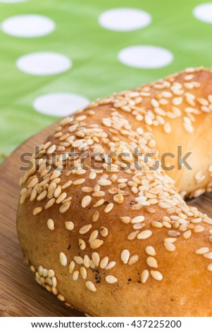 Selective focus on round pastry with sesame