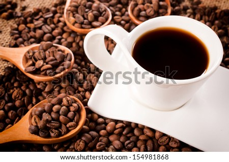 Selective focus on the cup with instant coffee - stock photo