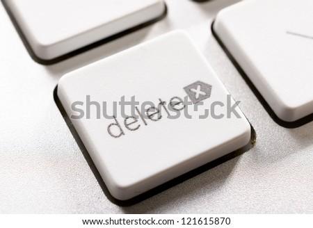 Selective focus on the delete button - stock photo