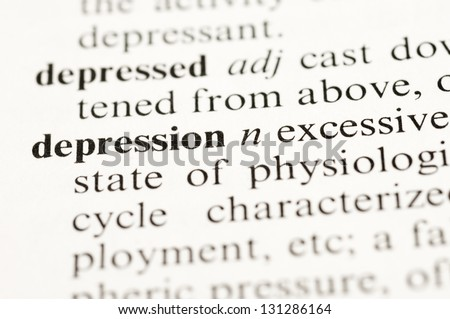 """Selective focus on the Dictionary word """"depression"""" - stock photo"""