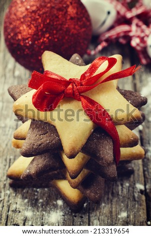 Selective focus on the front cookies  - stock photo