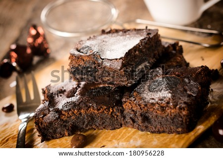 Selective focus on the front homemade chocolate brownies  - stock photo