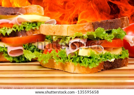 Selective focus on the front sandwich - stock photo