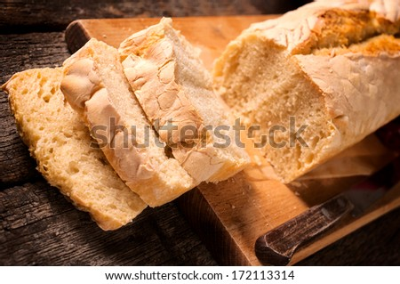 Selective focus on the front slices of bread  - stock photo