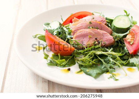 Selective focus on the juicy beef meat in plate  - stock photo