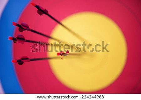 Selective focus on the pink arrows hitting the mark - stock photo