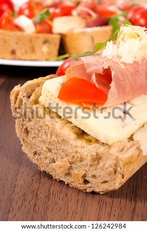 Selective focus on the sandwich - stock photo