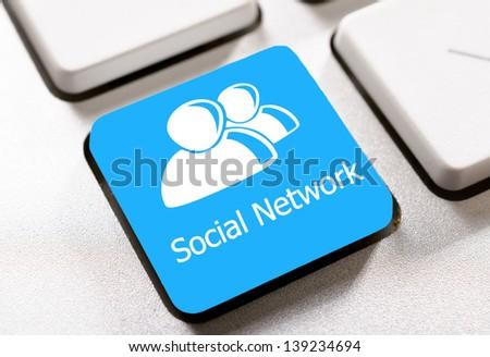 Selective focus on the social network button - stock photo