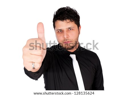 Selective focus on the thumb - stock photo