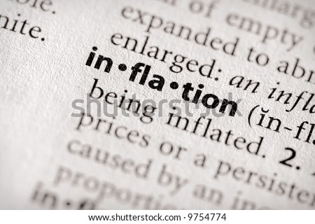 "Selective focus on the word ""inflation"". Many more word photos for you in my portfolio..."