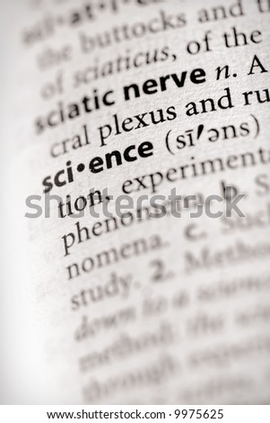 """Selective focus on the word """"science"""". Many more word photos for you in my portfolio... - stock photo"""
