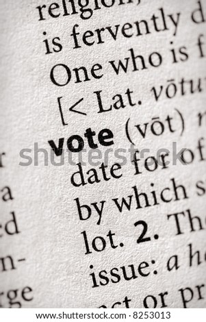 """Selective focus on the word """"vote"""". Many more word photos for you in my portfolio... - stock photo"""