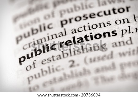 "Selective focus on the words ""public relations"". Many more word photos in my portfolio..."