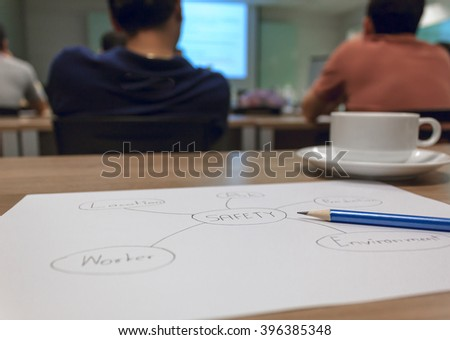 Selective focus pencil on circle diagram safety concept, environment,worker,process,risk,location.Business concept asia human training in room. - stock photo