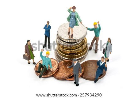 selective focus photo of miniature business woman suit standing on euro coins on white background, abstract background to money and saving concept. - stock photo
