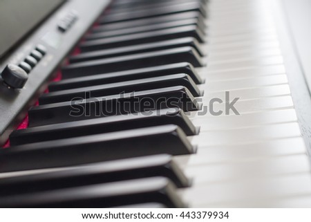Selective focus piano keyboard with the light