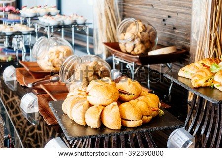 Selective focus point Catering buffet in hotel restaurant - Vintage Light Filter - stock photo