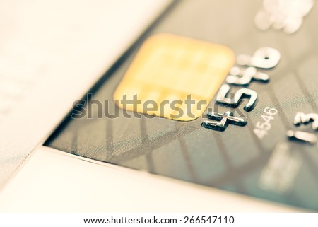Selective focus point on Credit card background - Vintage effect style pictures - stock photo