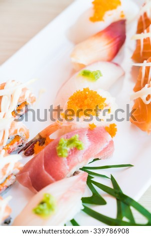 Selective focus point on sushi - Japanese food style and HDR Processing