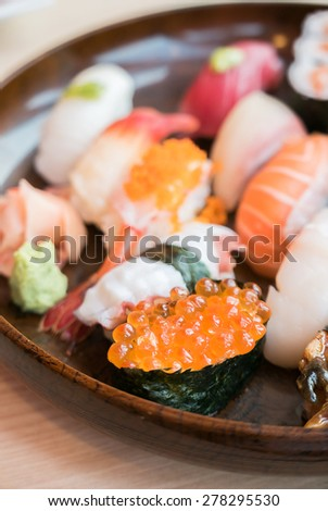 Selective focus point on Sushi roll , japanese food style - soft focus