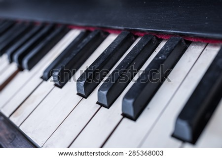 Selective focus point Piano keys