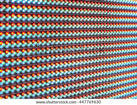 Selective focus, RGB led screen background, Digital concept
