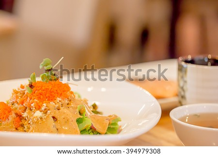 Selective Focus : Shrimp Eggs Salad with Sesame salad cream Japanese Style - stock photo
