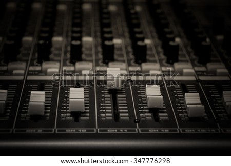selective focus sound mixer background. - stock photo