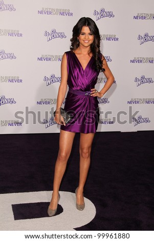 """Selena Gomez at the """"Justin Bieber: Never Say Never"""" Los Angeles Premiere, Nokia Theater, Los Angeles, CA. 02-08-11 - stock photo"""
