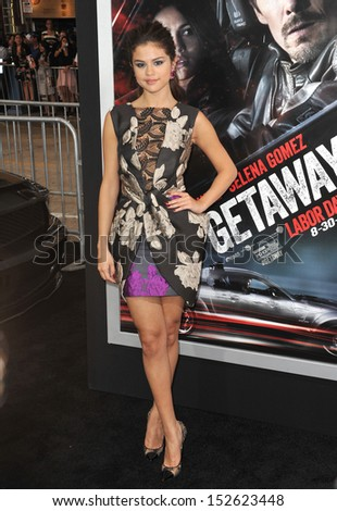 "Selena Gomez at the premiere of her movie ""Getaway"" at the Regency Village Theatre, Westwood. August 26, 2013  Los Angeles, CA - stock photo"