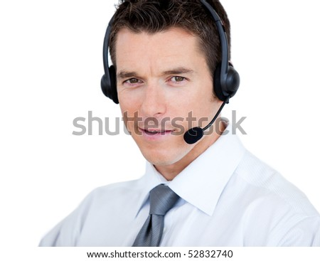Self-assured sales representative man with an headset against white background - stock photo