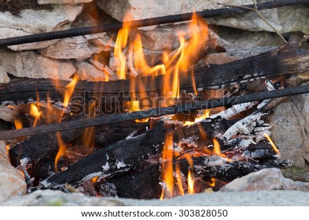 Self built barbecue with a nice fire gong